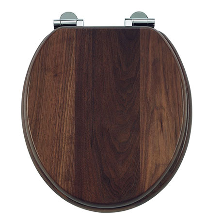 Burlington Soft Close Toilet Seat with Chrome Hinges - Walnut