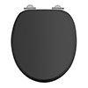 Burlington Soft Close Toilet Seat with Chrome Hinges - Matt Black profile small image view 1