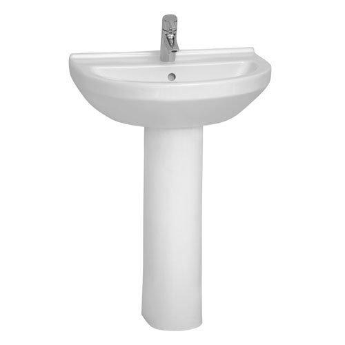 Vitra - S50 Round Washbasin & Pedestal - 1 Tap Hole - 4 Size Options Large Image