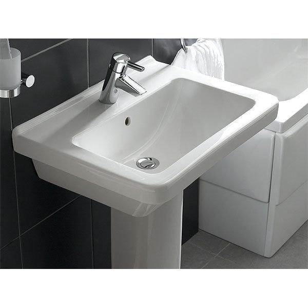 Vitra - S50 Square Washbasin & Pedestal - 1 Tap Hole - Various Size Options  Profile Large Image