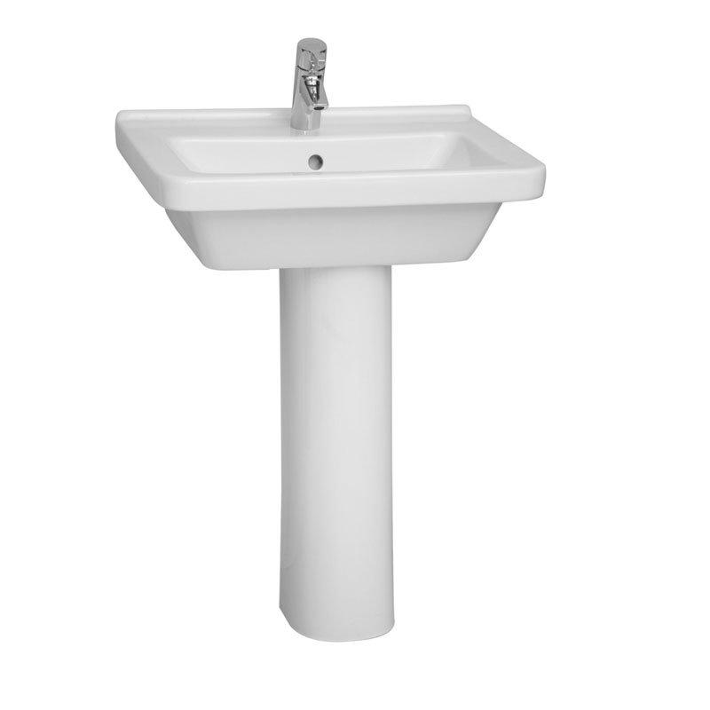 Vitra - S50 Square Washbasin & Pedestal - 1 Tap Hole - 5 x Size Options Large Image