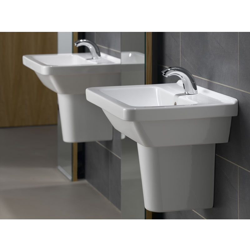Vitra - S50 Square Washbasin & Half Pedestal - 1 Tap Hole - Various Size Options profile large image view 2
