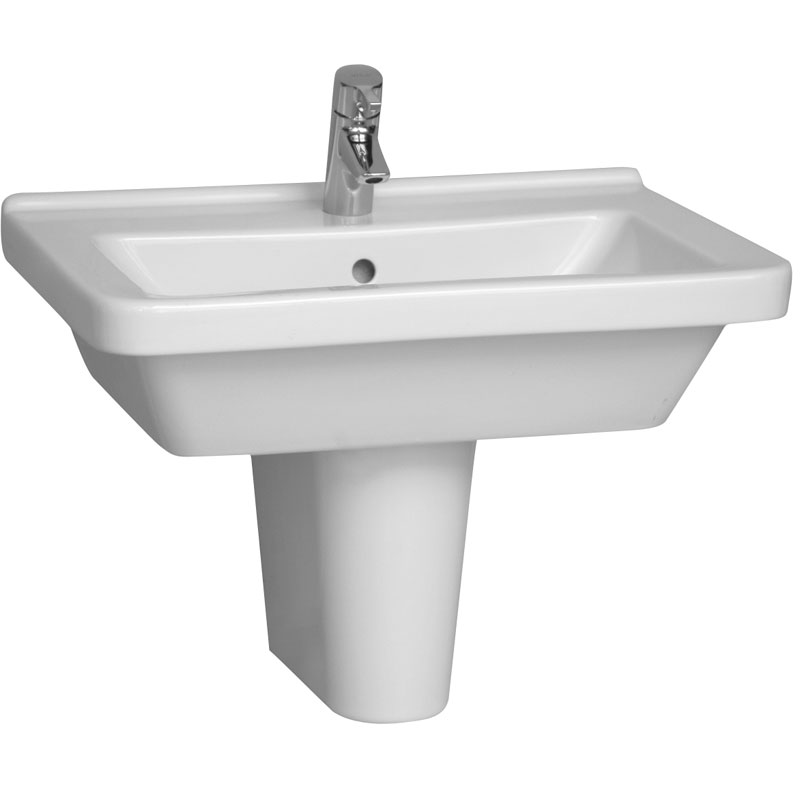 Vitra - S50 Square Washbasin & Half Pedestal - 1 Tap Hole - Various Size Options profile large image view 1