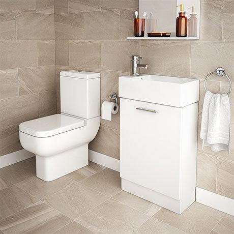 RAK Series 600 Toilet Inc. Soft Close Seat + White Compact Vanity Unit