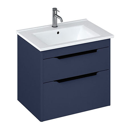 Britton Shoreditch 650mm Wall-Hung Double Drawer Vanity Unit with Black Handles - Matt Blue