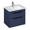 Britton Shoreditch 650mm Wall-Hung Double Drawer Vanity Unit with Black Handles - Matt Blue profile small image view 1