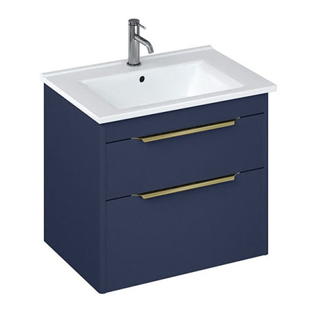 Britton Shoreditch 650mm Wall-Hung Double Drawer Vanity Unit with Brass Handles - Matt Blue