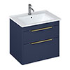 Britton Shoreditch 650mm Wall-Hung Double Drawer Vanity Unit with Brass Handles - Matt Blue profile small image view 1