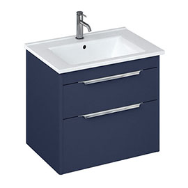Britton Shoreditch 650mm Wall-Hung Double Drawer Vanity Unit with Chrome Handles - Matt Blue