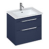 Britton Shoreditch 650mm Wall-Hung Double Drawer Vanity Unit with Chrome Handles - Matt Blue profile small image view 1