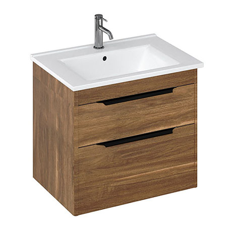 Britton Shoreditch 650mm Wall-Hung Double Drawer Vanity Unit with Black Handles - Caramel