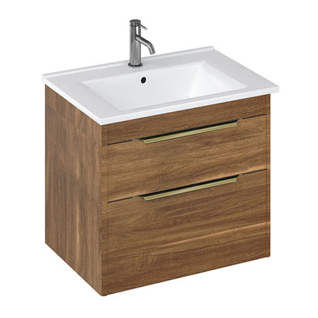 Britton Shoreditch 650mm Wall-Hung Double Drawer Vanity Unit with Brass Handles - Caramel