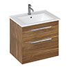 Britton Shoreditch 650mm Wall-Hung Double Drawer Vanity Unit with Chrome Handles - Caramel profile small image view 1