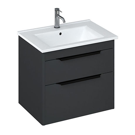 Britton Shoreditch 650mm Wall-Hung Double Drawer Vanity Unit with Black Handles - Matt Grey