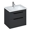 Britton Shoreditch 650mm Wall-Hung Double Drawer Vanity Unit with Black Handles - Matt Grey profile small image view 1