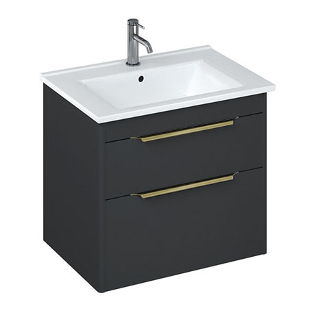 Britton Shoreditch 650mm Wall-Hung Double Drawer Vanity Unit with Brass Handles - Matt Grey
