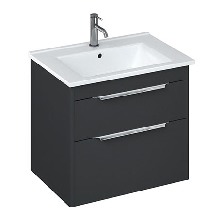 Britton Shoreditch 650mm Wall-Hung Double Drawer Vanity Unit - Matt Grey