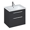 Britton Shoreditch 650mm Wall-Hung Double Drawer Vanity Unit - Matt Grey profile small image view 1