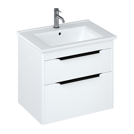 Britton Shoreditch 650mm Wall-Hung Double Drawer Vanity Unit with Black Handles - Matt White
