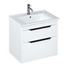Britton Shoreditch 650mm Wall-Hung Double Drawer Vanity Unit with Black Handles - Matt White profile small image view 1