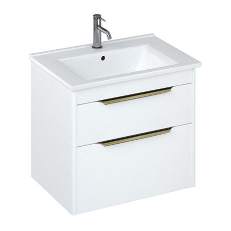 Britton Shoreditch 650mm Wall-Hung Double Drawer Vanity Unit with Brass Handles - Matt White