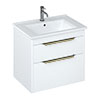 Britton Shoreditch 650mm Wall-Hung Double Drawer Vanity Unit with Brass Handles - Matt White profile small image view 1