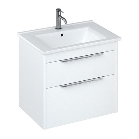 Britton Shoreditch 650mm Wall-Hung Double Drawer Vanity Unit - Matt White