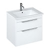 Britton Shoreditch 650mm Wall-Hung Double Drawer Vanity Unit with Chrome Handles - Matt White profile small image view 1