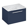 Britton Shoreditch 650mm Single Drawer Vanity Unit with Chrome Handle & Carrara White Worktop - Matt Blue profile small image view 1