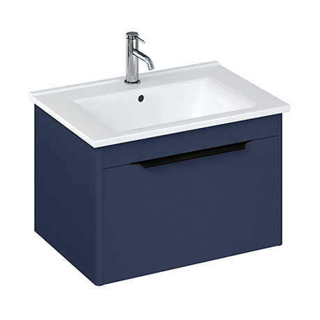 Britton Shoreditch 650mm Wall-Hung Single Drawer Vanity Unit with Black Handle - Matt Blue