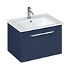 Britton Shoreditch 650mm Wall-Hung Single Drawer Vanity Unit with Chrome Handle - Matt Blue profile small image view 1