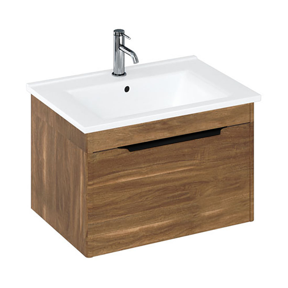 Britton Shoreditch 650mm Wall-Hung Single Drawer Vanity Unit with Black Handle - Caramel