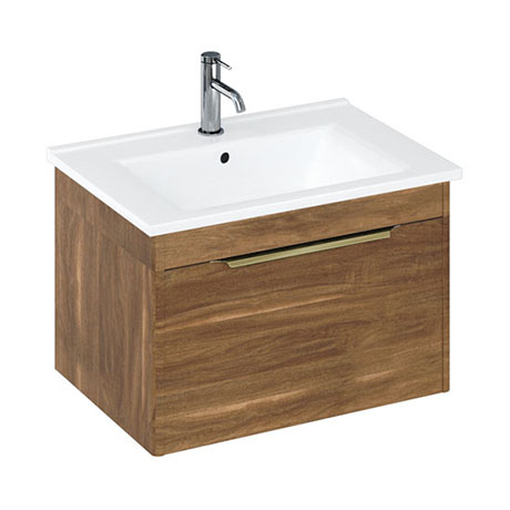 Britton Shoreditch 650mm Wall-Hung Single Drawer Vanity Unit with Brass Handle - Caramel
