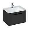 Britton Shoreditch 650mm Wall-Hung Single Drawer Vanity Unit with Black Handle - Matt Grey profile small image view 1