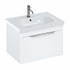 Britton Shoreditch Wall Hung Vanity Unit - Matt White - 650mm with Chrome Handle inc. Round Basin profile small image view 1