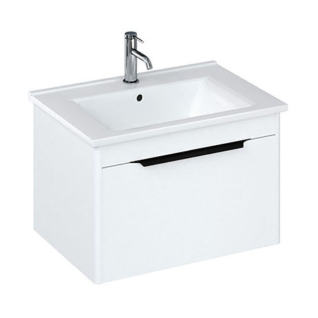Britton Shoreditch 650mm Wall-Hung Single Drawer Vanity Unit with Black Handle - Matt White