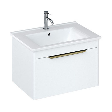Britton Shoreditch 650mm Wall-Hung Single Drawer Vanity Unit with Brass Handle - Matt White
