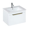 Britton Shoreditch 650mm Wall-Hung Single Drawer Vanity Unit with Brass Handle - Matt White profile small image view 1