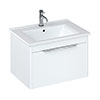 Britton Shoreditch 650mm Wall-Hung Single Drawer Vanity Unit with Chrome Handle - Matt White profile small image view 1