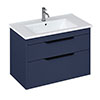 Britton Shoreditch 850mm Wall-Hung Double Drawer Vanity Unit with Black Handles - Matt Blue profile small image view 1