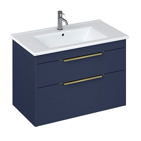 Britton Shoreditch 850mm Wall-Hung Double Drawer Vanity Unit with Brass Handles - Matt Blue