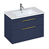 Britton Shoreditch 850mm Wall-Hung Double Drawer Vanity Unit with Brass Handles - Matt Blue profile small image view 1