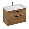 Britton Shoreditch 850mm Wall-Hung Double Drawer Vanity Unit with Black Handles - Caramel profile small image view 1