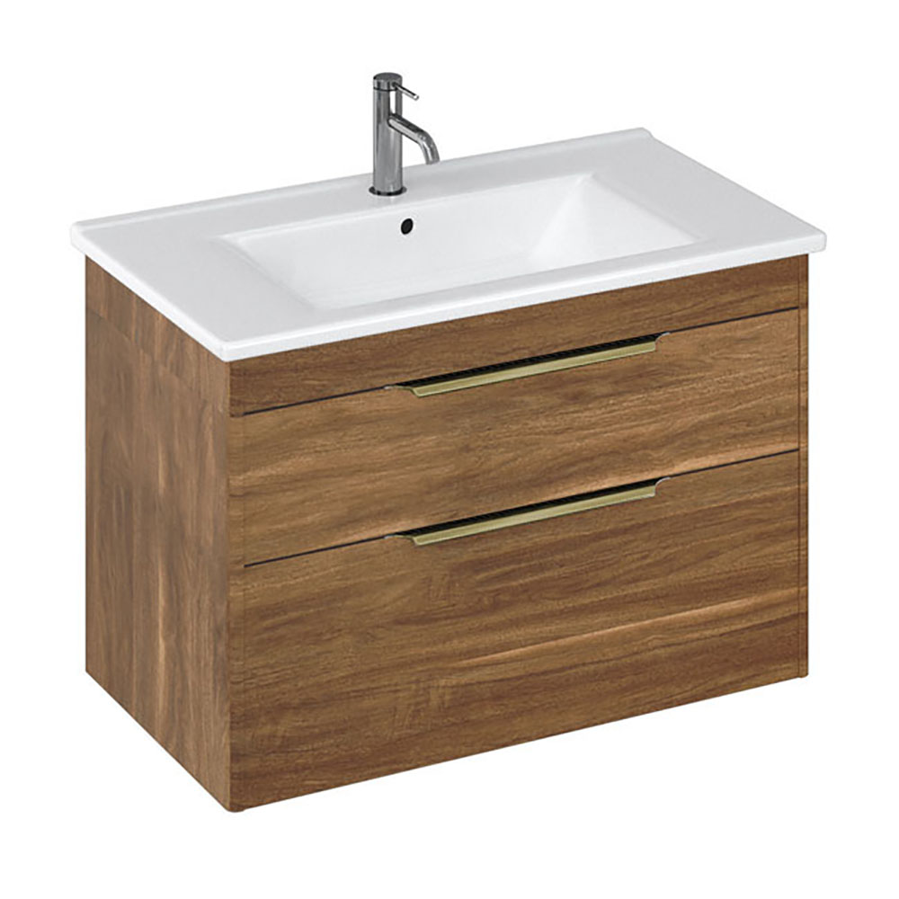 Britton Shoreditch 850mm Wall-Hung Double Drawer Vanity Unit with Brass Handles - Caramel