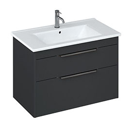 Britton Shoreditch 850mm Wall-Hung Double Drawer Vanity Unit with Black Handles - Matt Grey