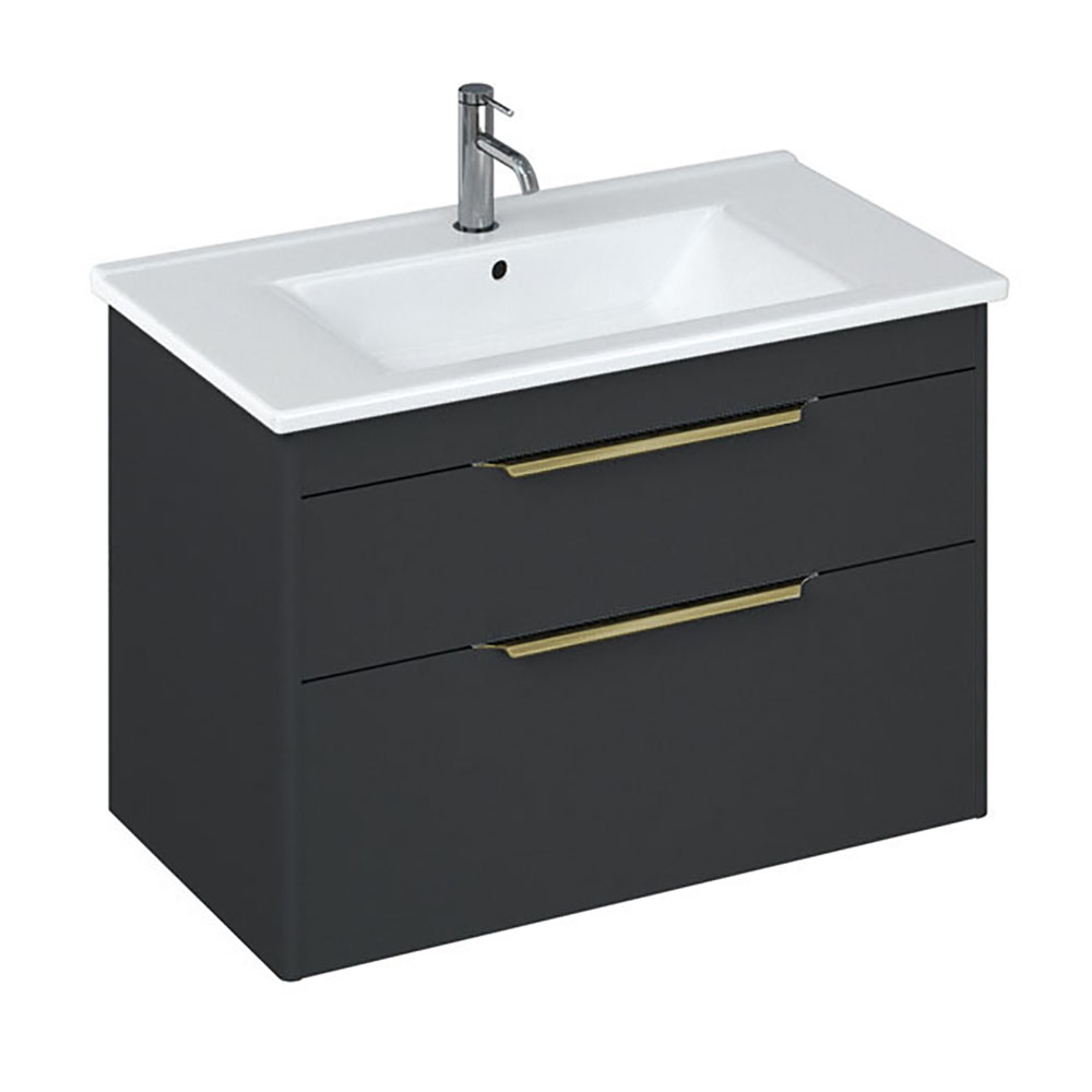 Britton Shoreditch 850mm Wall-Hung Double Drawer Vanity Unit with Brass Handles - Matt Grey