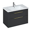 Britton Shoreditch 850mm Wall-Hung Double Drawer Vanity Unit with Brass Handles - Matt Grey profile small image view 1