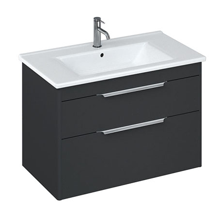 Britton Shoreditch 850mm Wall-Hung Double Drawer Vanity Unit - Matt Grey
