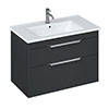 Britton Shoreditch 850mm Wall-Hung Double Drawer Vanity Unit with Chrome Handles - Matt Grey profile small image view 1