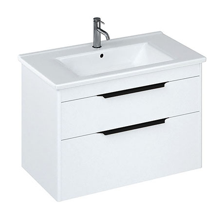 Britton Shoreditch 850mm Wall-Hung Double Drawer Vanity Unit with Black Handles - Matt White